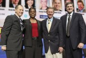 CEA President and CEO Gary Shapiro with Xerox Chairman and CEO Ursula Burns, Ford Motor Company President and CEO Alan Mulally, and Verizon Enterprise Solutions President John Stratton who join...