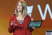 Microsoft's Tami Reller, chief marketing officer, Windows and Windows Live, demonstrates touch capabilities on Windows 8 during the company's keynote at CES 2012 in Las Vegas, Nev. Photo: Microsoft